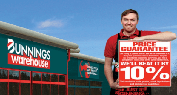 lowest prices Bunnings 10%