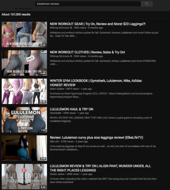 lululemon review youtube search results