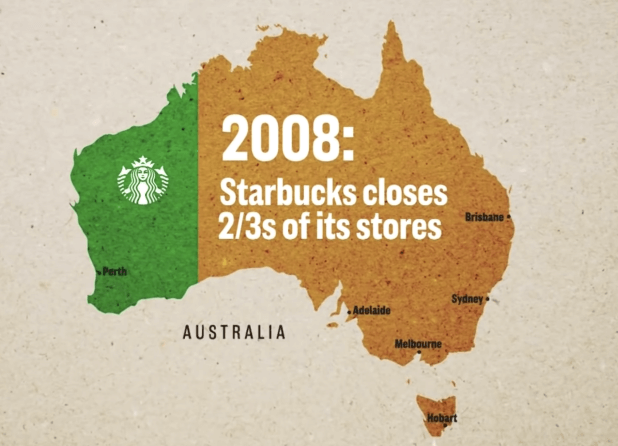 starbucks closes two thirds of Australian stores